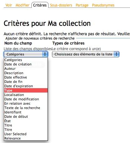 Création d'une collection, les critères
