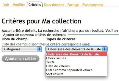 Copie d'écran des modes de sélection des critères d'une collection