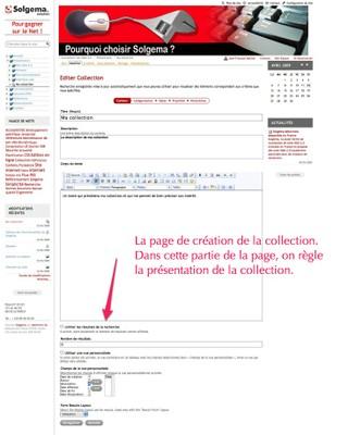 Copie d'écran de la création d'une collection (première page)