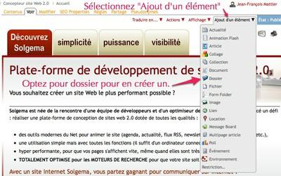 Copie d'écran de la création d'un dossier