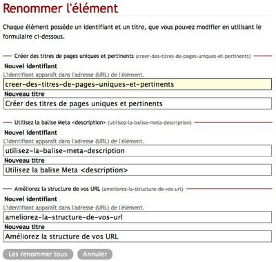 Exemple de renommage d'URL dans Solgema