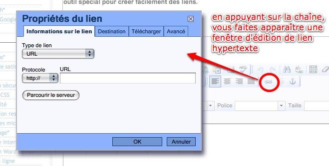 Insertion de liens depuis l'éditeur de texte
