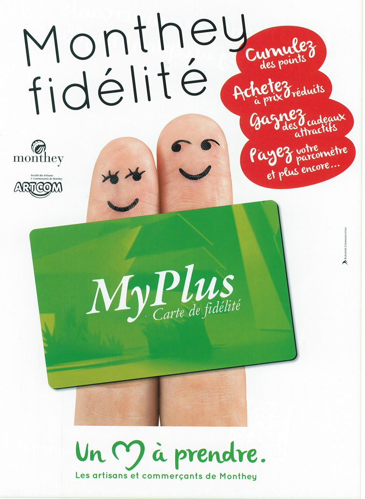 Logo campagne myplus, fidélisation à Monthey