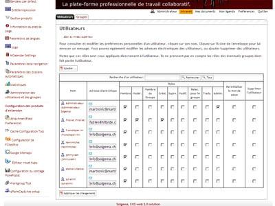 Copie d'écran du tableau des utilisateurs