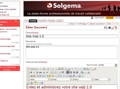 Copie d'écran de l'édition d'un document