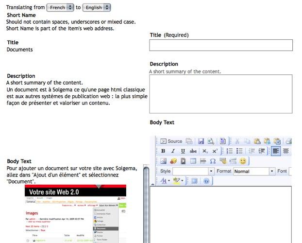 Une fenêtre de traduction sur un site Solgema