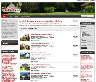 Le site de l'agence immobilière Maya-Immo marque une nouvelle façon d'aborder le marché de l'immobilier en Alsace
