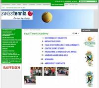 Une représentation écran du site Vaud Tennis Academy