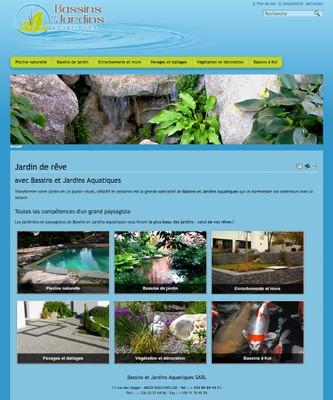 Une copie d'écran du site www.jardins-bassins-aquatiques.fr, l'art paysager au service de votre bassin naturel.